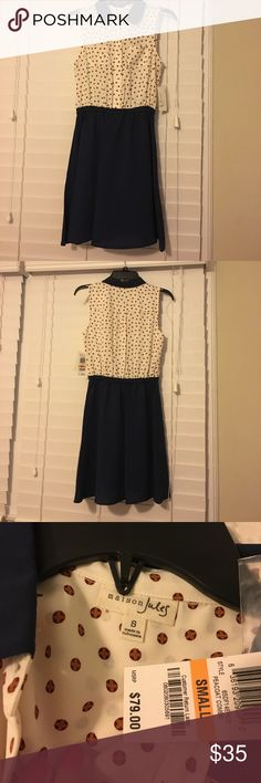 Madison Jules navy/cream collared dress Madison Jules navy/cream collared dress. Size small. Polka dots on top! Small chest pockets Maison Jules Dresses Mini