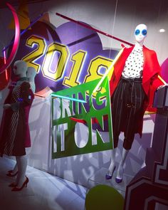 "DEBENHAMS, Oxford Street, London, UK, ""Bring It On"", for Spring, photo by Oliver Vilcans, pinned by Ton van der Veer Retail Windows, Shop Windows, Clothing Displays, Market Stalls, Shop Fronts, Oxford Street, Debenhams, Department Store, Window Shopping"