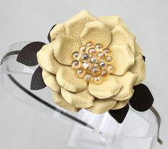 Yellow flower headband leather fascinator green by Leatherblossoms, $36.00