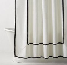 RH TEEN& Framed Faille Shower Curtain:As crisp as classic hotel linens. A contrast-colored hem stands out against white cotton faille and lends our shower curtain a quiet sophistication. Hotel Shower Curtain, Silver Shower Curtain, Black White Shower Curtain, Cool Shower Curtains, Bathroom Shower Curtains, Hotel Linen, Classic Showers, Black White Bathrooms, Eclectic Bathroom