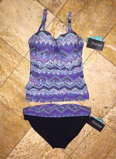 a0cb5e0ede1f5 NWT $200 Profile by Gottex Skyline Bandeau Tankini Set Swimsuit UW 38D Cup  / 14 #
