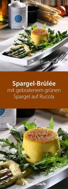 Spargel-Brûlée mit gebratenem grünem Spargel auf Rucola