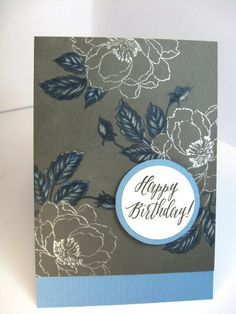 Altenew Flowers Heat Embossed In Silver Glitter Powder Leaves Stamped And Embellished With Coloured Pencils