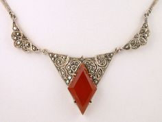 1930s Gorgeous Art Deco Carnelian Glass Marcasites Sterling Silver 935 Necklace | eBay
