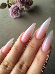 Nude Long almond nails babyboomer