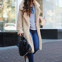 Women's Fuzzy Fleece Lapel Open Front Long Cardigan Coat Faux Fur Warm Winter Outwear Jackets with Pockets - Ligh Beige XX-Large Trendy Outfits, Cool Outfits, Fashion Outfits, Womens Fashion, Girly Outfits, Beautiful Outfits, Fashion Clothes, Style Fashion, Fashion Trends