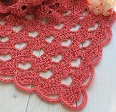 Chal de corazones, explicaciones claras Tina's handicraft : crochet shawl heart stitch shape