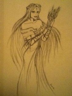 Sketch of the Greek goddess Hestia- Medium: Graphite Pencil