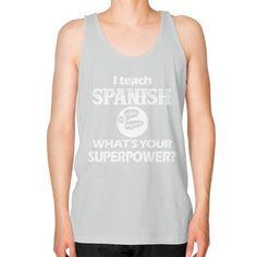 Spanish teacher irish Unisex Fine Jersey Tank (on man)