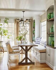 Home tour- A neutral and beautiful Connecticut farmhouse - loooove that window seat and farmhouse table