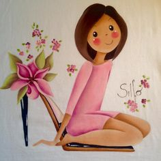 Silfo                                                                                                                                                                                 Más T Shirt Painting, One Stroke Painting, Fabric Painting, Watercolor Paintings, Doll Eyes, Doll Face, Doll Drawing, Pintura Country, Country Paintings