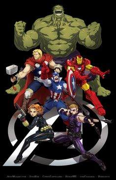 Holy crap - a good Avengers poster where Black Widow and Hawkeye aren't left out or tiny? Avengers Jam by *theCHAMBA