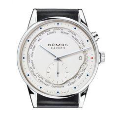 NOMOS Glashütte Zurich Weltzeit White Dial & Leather Strap Automatic Watch