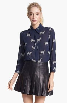 Alice + Olivia 'Will' Print Stretch Silk Blouse