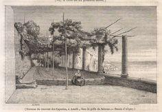 """Terrasse du couvent des Capucins, a Amalfi, dans le golfe de Salerne, incisione xilografica su legno di testa, Aligny dis.;da """"Magasin  Pittoresque"""", 1860; la stampa è stata ritagliata dal libro ed ha scritte sul retro - Disegnatore: Claude Felix Aligny, pittore e incisore francese (1798-1871),  autore di paesaggi e soggetti storici ed espone a Lione e Parigi ottenendo un vasto apprezzamento. E' autore di viaggi in diversi paesi europei durante i quali realizza vedute dei luoghi visitati."""