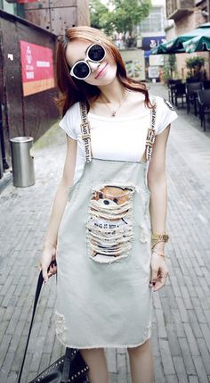 Fashiontroy Street style short sleeves crew neck blue distressed bear denim overalls + T-shirt set