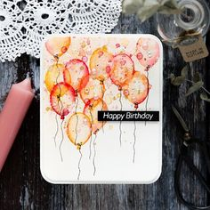 Faux watercoloured birthday balloons handmade birthday card by Debby Hughes using supplies from Simon Says Stamp. Watercolor Birthday Cards, Watercolor Cards, Scrapbook Expo, Scrapbooking, Doodle Designs, Handmade Birthday Cards, Distress Ink, Birthday Balloons, Clear Stamps