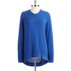 Signorelli High-Lo Fleece Pullover ($15) ❤ liked on Polyvore featuring tops, sweaters, blue, signorelli, sweater pullover, pullover tops, blue sweater and blue pullover sweater
