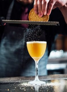 Tes & Biscuits Flip Recipe – Beverage director Ashwin Vilkhu taps some of India's most iconic flavors in this warming flip recipe served at Saffron in New Orleans. Brandy Cocktails, Winter Cocktails, Holiday Drinks, Flip Recipe, Eggnog Cake, Black Tea Leaves, Orange Wine, Tea Biscuits, Coffee Milk