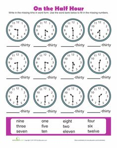 Worksheets: Time to the Half Hour