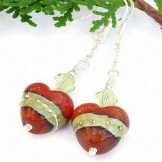 Handmade Lampwork Heart Earrings Swarovski Coral Ivory Beaded Jewelry | ShadowDogDesigns - Jewelry on ArtFire