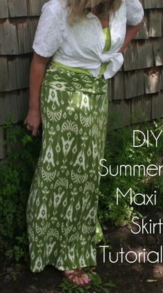 DIY Summer Maxi Skirt Tutorial. Uses a thrift store [ or back of closet] dress with great fabric, awful style. I'd put some elastic into the waist instead of a tie. Or, make a yoga waistband fold over.