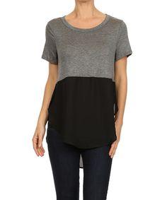 Gray & Black Color Block Hi-Low Top - Women
