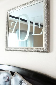 """Etched monogram mirror...maybe just an """"O""""??? Or a verse?  Or a Christmas theme with white frame?"""