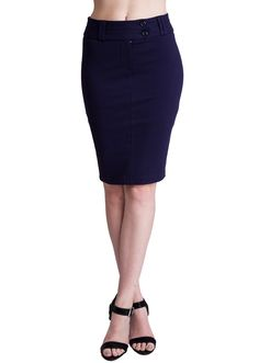 Double Button Pencil Skirt SK1209NB, clothing, clothes, womens clothing, jeans, tops, womens dress