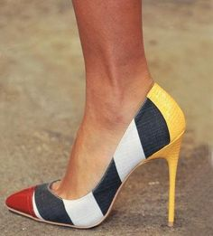FSJ Multi Colors Pumps Women's Style Pumps and D'orsay Heels Chic Fashion Prom Shoes Black, White and Yellow Pointy Toe Stiletto Heels Pumps Winter Outfits 2018 Street Style Outfits Summer Outfits Bucket List Ideas  FSJ