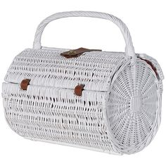 White Rattan Picnic Basket ($71) ❤ liked on Polyvore featuring home, kitchen & dining, food storage containers, rattan picnic basket, rattan basket, picnic tote, colored baskets and white picnic basket