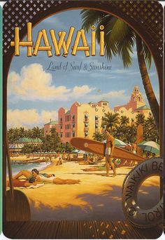 Hawaii Land of Surf & sunshine. Vintage surfing poster, pined from Shanonn Norris Hawaii Vintage, Vintage Hawaiian, Retro Vintage, Vintage Style, Wedding Vintage, Vintage Roses, Fashion Vintage, Vintage Images, Vintage Travel Posters