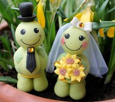 Wedding cake topper custom turtle cake topper bride and