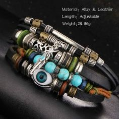 17KM Turkish Eye Leather Bracelets For Men & Woman