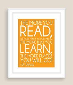 Dr. Seuss Quote, Read,  Modern Art Print Typography Nursery wall decor, Kids Wall Art, Playroom or Classroom wall art-11x14. $15.00, via Etsy.