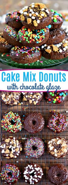 Start your mornings off right with CHOCOLATE! These Chocolate Cake Mix Donuts are topped with a silky chocolate glaze and an assortment of fun toppings. S'mores, Almond Joy, sprinkles - which will be your new favorite? // Mom On Timeout #donuts #chocolate #cakemix #breakfast #brunch #dessert #ad