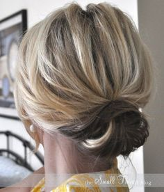 Updo Hairstyles for Short Hair: Casual Low Bun: