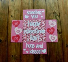 Send a few hugs and kisses anywhere in the world with these Valentines Day care package flaps! Valentines Day Care Package, Valentine Day Boxes, Valentine Crafts, Valentine Day Gifts, Valentine Ideas, Care Package Decorating, Deployment Care Packages, Gift Box Packaging, College Gifts