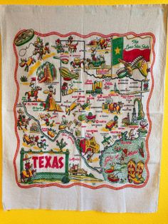 1940s Texas State Souvenir Tablecloth Yucca by VintageGypsies, $125.00
