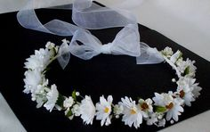 Wedding hair accessories Bridal Flower Halo Headpiece Veil alternative silk flower crown White daisies pearls flower girl circlet EDC fest