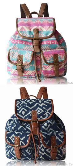 Fashion Geometry Irregular Canvas Retro Oringal Two Pockets School Leisure Backpack for big sale ! #school #pockets #original #canvas