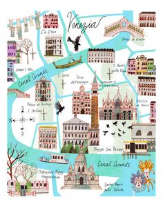 Illustrated Venice Map . by Josie Portillo via Etsy