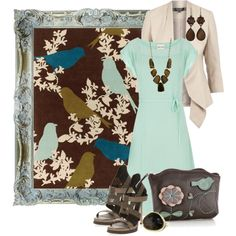 turquoise birds by sagramora on Polyvore