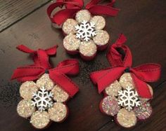 Upcycled Wine Cork Snowflake Ornaments (set of DIY and Crafts, So cute! Upcycled Wine Cork Snowflake Ornaments (set of Wine Cork Ornaments, Diy Christmas Ornaments, Homemade Christmas, Christmas Projects, Holiday Crafts, Christmas Decorations, Snowflake Ornaments, Snowman Ornaments, Christmas Ideas