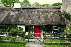 Irish cottage with a red door