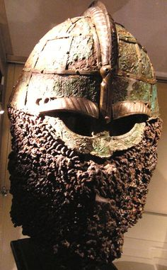 Helm from Valsgärde, Grave 8, 7th century. The rusted and corroded chainmail looks like an epic beard now :P