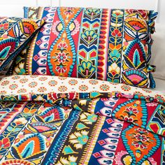 With its brilliant bright colors and dazzlingly intricate designs, this bedding set is not for the faint of heart. The Mudhut Talavera Duvet Set features column after column of beautifully detailed patterns, all inspired by traditional Mexican pottery. The reverse side of the duvet cover has a pattern that is less complex, but just as inviting. This set includes a duvet cover and 2 shams.