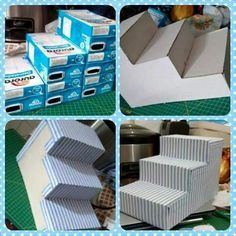 Utiliza cajas de leche para crear un bello exhibidor con forma de escalera que te servirá para lucir postres o bocadillos en un buffet o me...