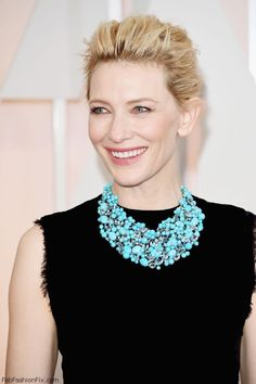 Cate Blanchett wearing Tiffany&Co turquoise necklace at Academy Awards Oscars 2015. #cateblanchett
