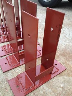 Wood To Existing Concrete Mounting Bracket. Unlimited quantities available. | eBay! Pole Barn Garage, Pole Barn House Plans, Pole Barn Homes, Diy Pole Barn, Pole Barns, Pole Barn Kits, Carport Garage, Pergola Carport, Pole Barn Designs